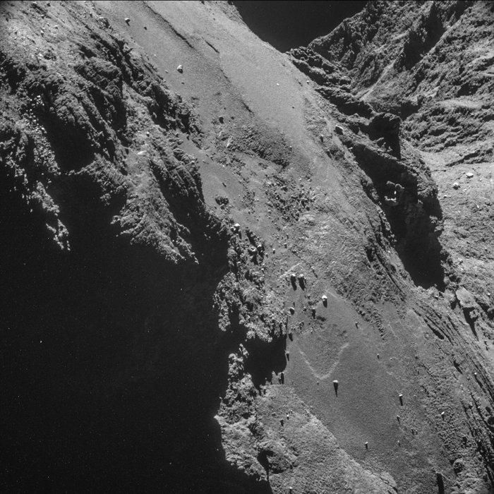 Parallel furrowed terrain near the neck of 67P