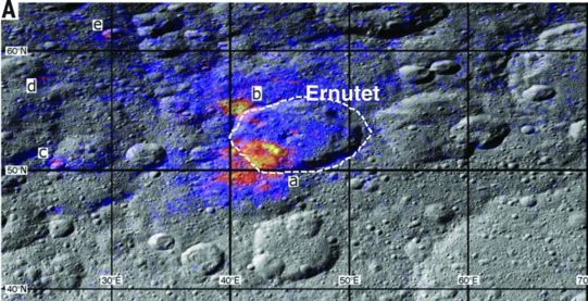 organic-rich region at Ernutet crater on Ceres